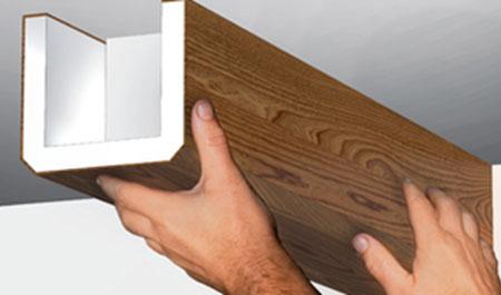 Монтаж имитации балок на потолке – шаг за шагом