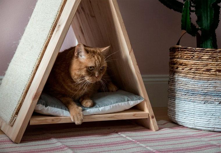 Домик для кошки с когтеточкой своими руками