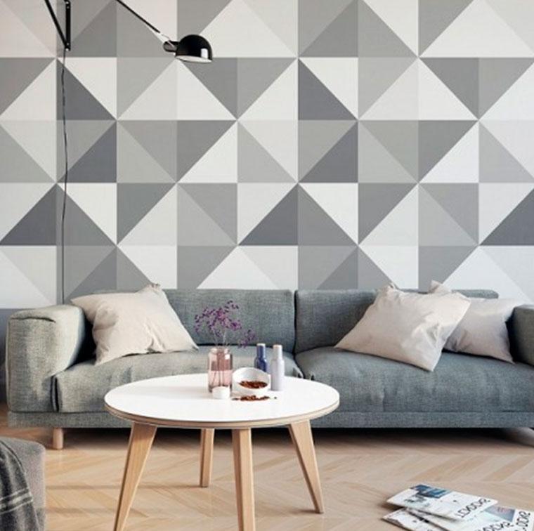 Геометрические обои для гостиной – фото
