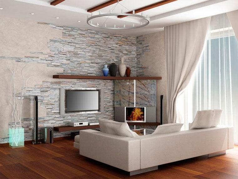 Декоративный камень для отделки стен в квартире – фото интерьеров