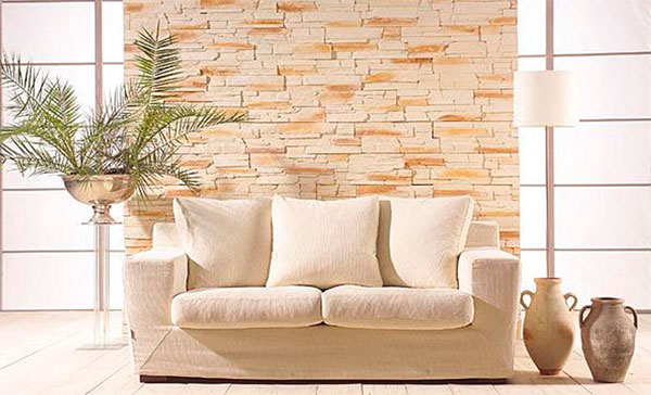 Отделка стены камнем в квартире – фото