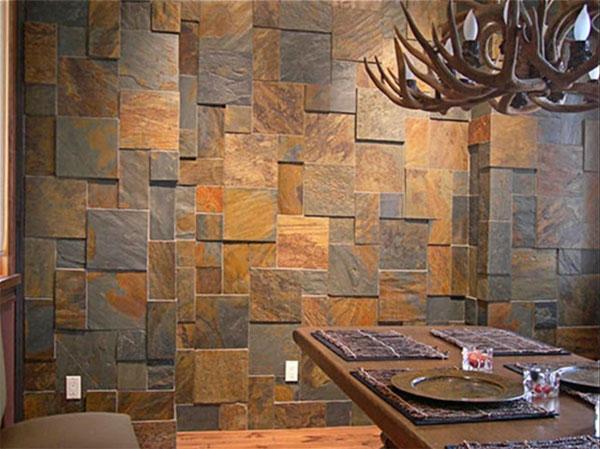 Отделка стен декоративным камнем в квартире – фото