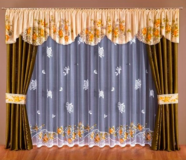 Готовые шторы гостиную с ламбрекеном – фото