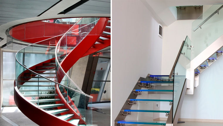 Ограждения лестниц из стекла – фото