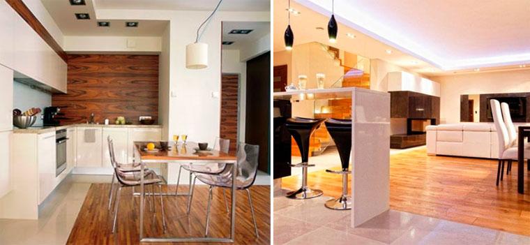 Пол на кухне плитка и ламинат – фото