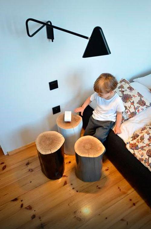 Стол из пня – фото в интерьере
