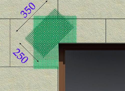 Схема укладки пенопласта в углах оконных и дверных проемов
