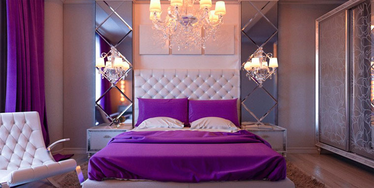Гламурная спальня в фиолетовых цветах