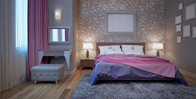 Элегантное сочетание цветов интерьере спальни – фиолетовый и серебро