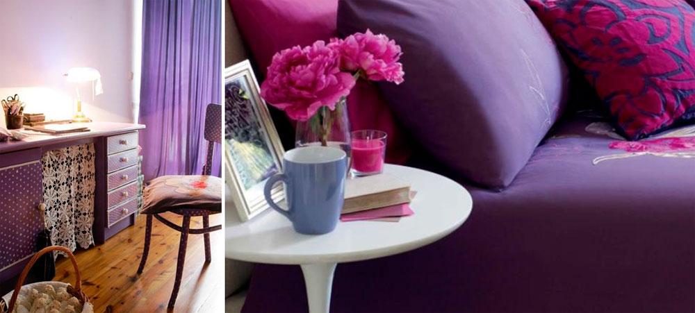 Фиолетовый цвет стен в спальне