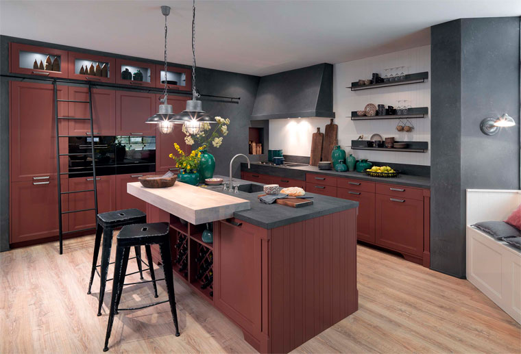 modern kitchen in trendy wine color marsala