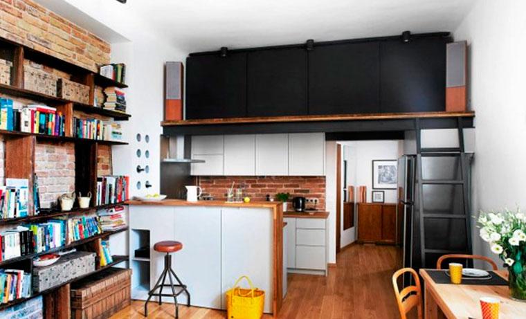 Стены из кирпича в квартире в стиле лофт – фото