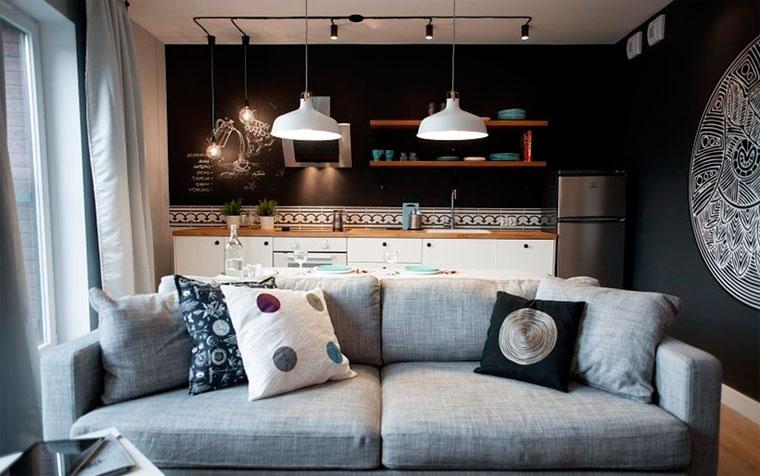 Цвета и материалы на стенах и потолке в стиле лофт