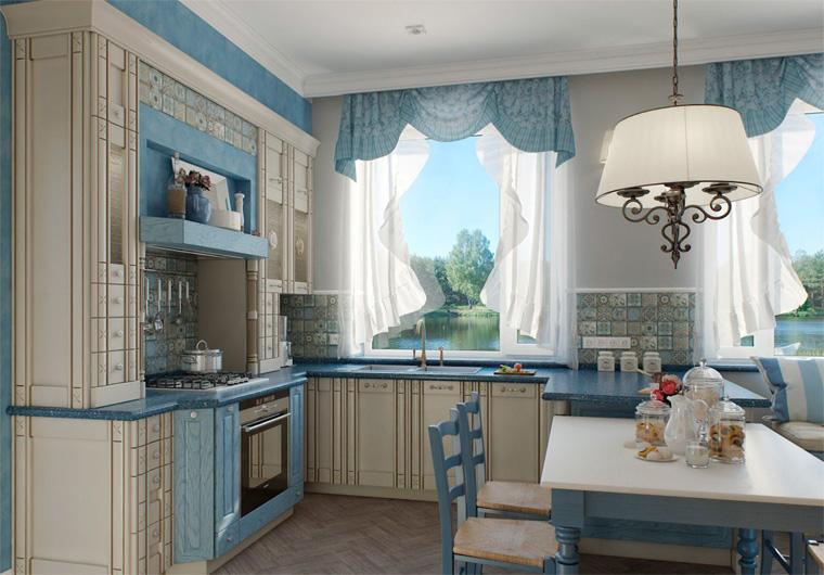 Занавески для кухни в стиле прованс