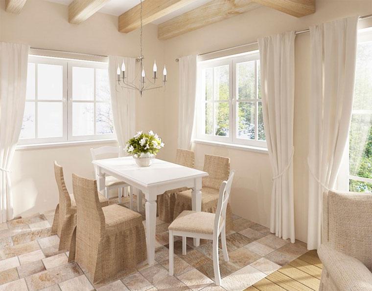 Белые занавески на кухню прованс
