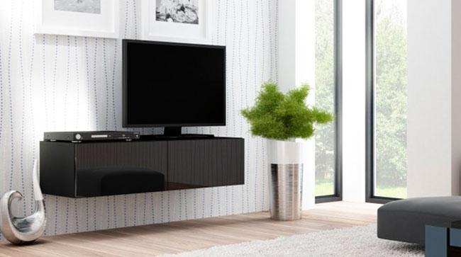 Подвесные тумбы под телевизор в современном стиле