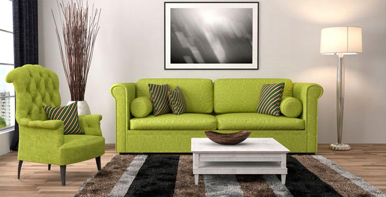 сочетание зеленого цвета в интерьере с серым и коричневым