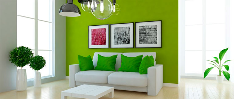 Сочетание зеленого в интерьере с белым