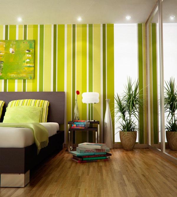 Зелено-желтые обои в интерьере, фото