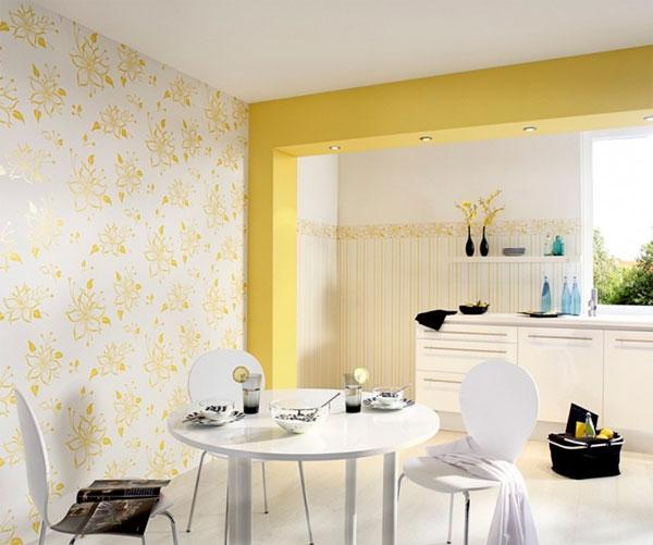Желтые обои на кухне