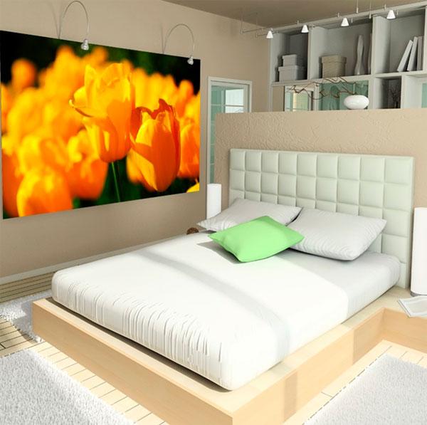 Желтые обои в интерьере спальни