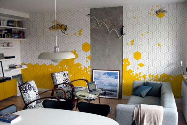 Серо и бело-желтые обои в интерьере, фото