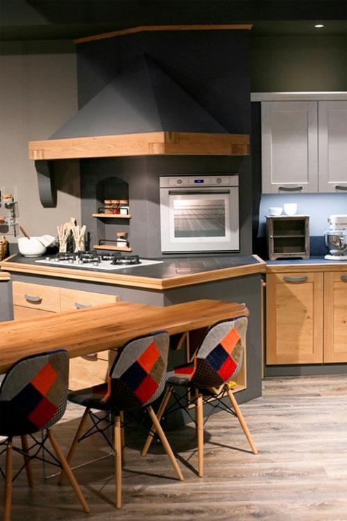 Серый ламинат на кухне – какая мебель