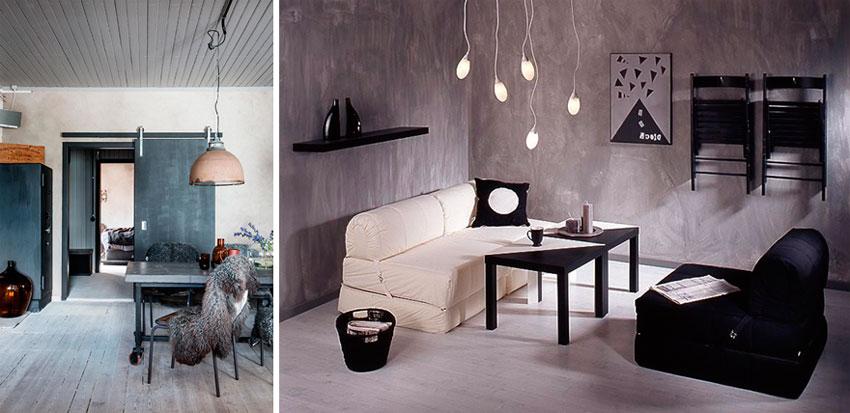 Стиль лофт и ламинат серого цвета в интерьере – фото