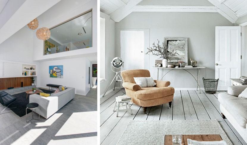 Скандинавский стиль и серый ламинат в интерьере гостиной – фото
