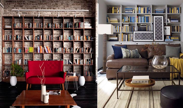 Оформление стены с книжными полками над диваном – фото