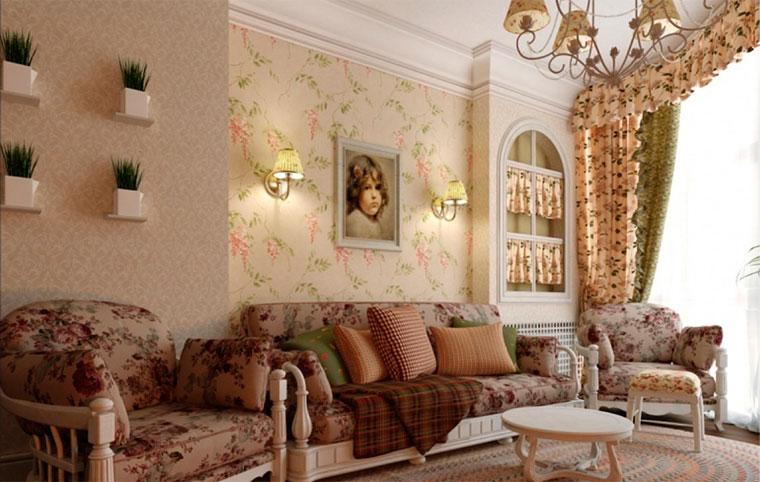 Оформление стены классической гостиной обоями – фото