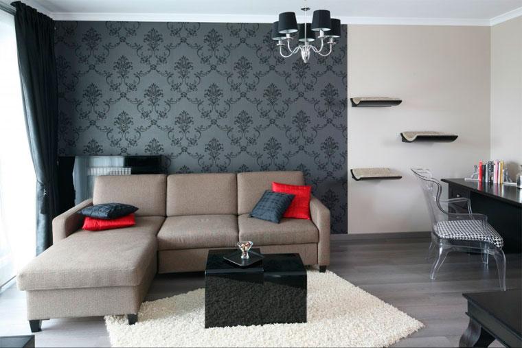 фотообои в гостиной над диваном