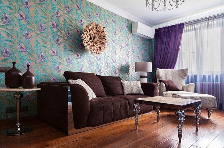 Оформление гостиной в стиле гламур обоями – фото