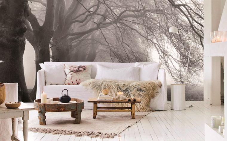 Фотообои с эффектом глубины на стене за диваном – фото