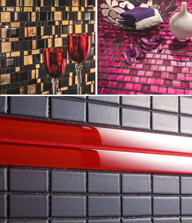 Фото затирок с блестками на мозаичном покрытии стен и столешницы