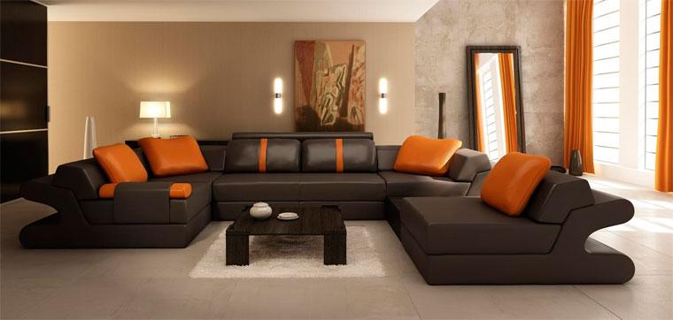 Интерьер гостиной в коричнево-бежевых тонах – фото