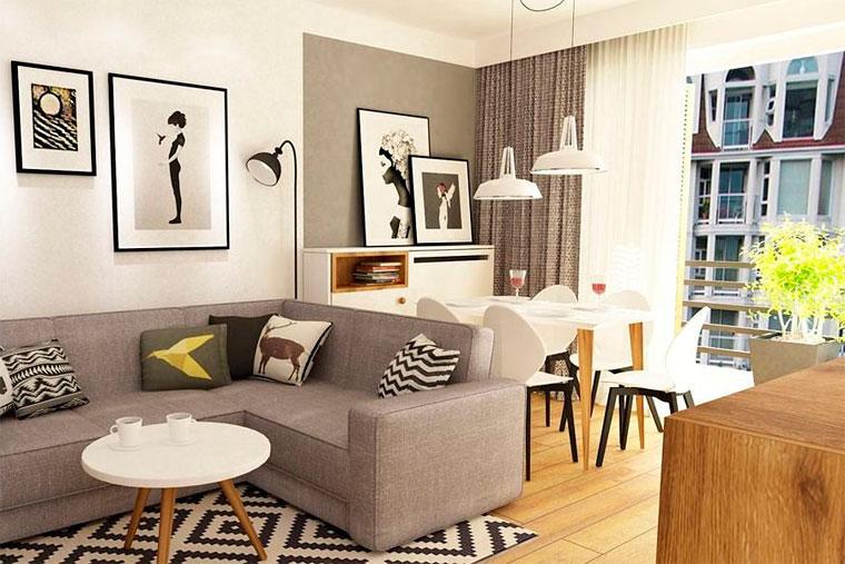 Серо-бежевая гостиная и стильные узорчатые добавки, фото