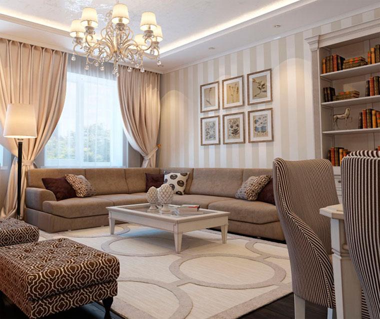 Бежевый увеличит комнату и изменит ее пропорции