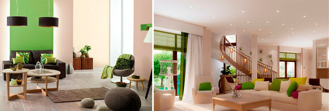 Дизайн гостиной с бежевыми стенами и зелеными акцентами, фото