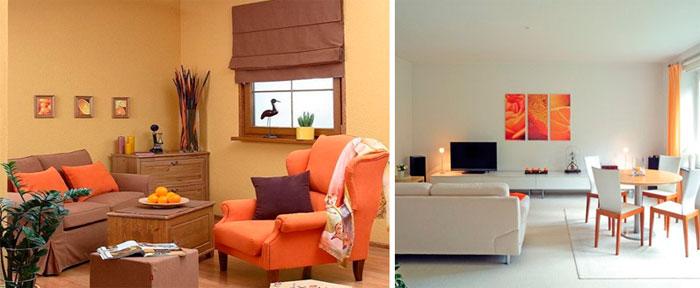 Дизайн гостиной в бежевых тонах с оранжевыми акцентами, фото