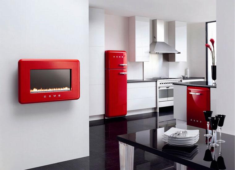 Кухня в красно-белом цвете, фото