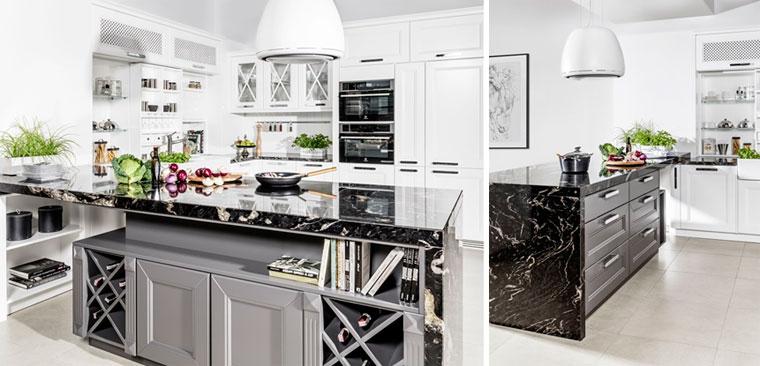 Дизайн кухни в белом цвете с черным кухонным островом, фото