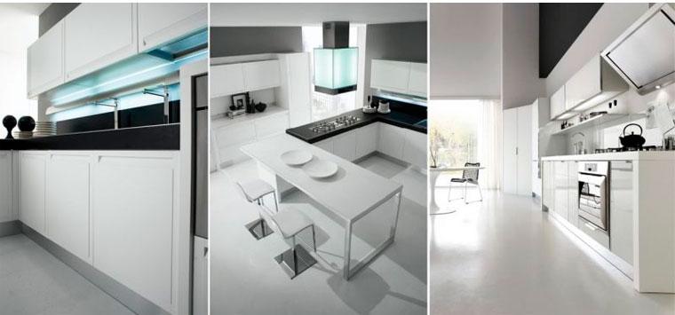 Белая кухня с глянцевыми фасадами