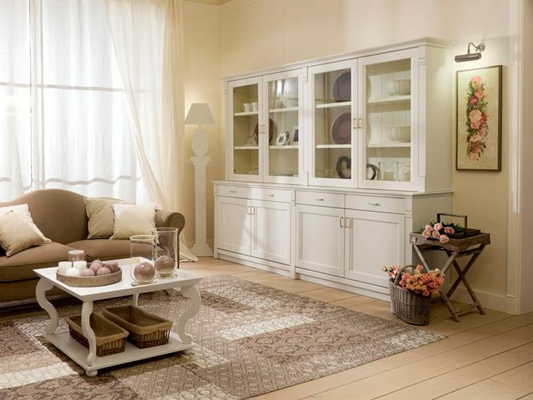 Белая стенка в гостиную в стиле прованс
