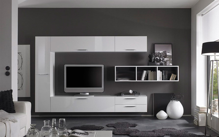 Современная белая стенка в гостиную – фото
