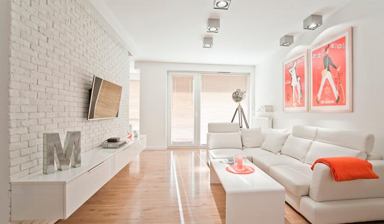 Белая кирпичная стена в интерьере – фото
