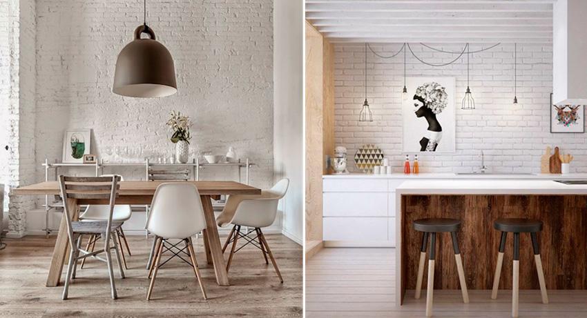 Кирпичные белые стены в интерьере кухни, фото
