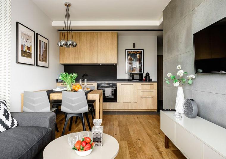 Как расставить мебель в прямоугольном зале, совмещенном с кухней, фото