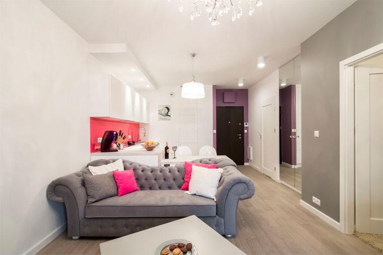 Зонирование зала с помощью дивана, фото