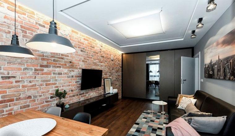 Расстановка мебели в прямоугольном зале, фото